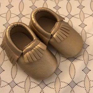 Other - Gold faux leather baby moccasins